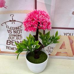 Commerce de gros usine artificiel Mini imitation plastique Bonsai pour bureau à domicile fleurs de soie Décoration Public