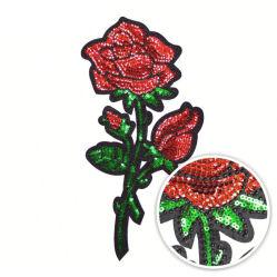 Perles de Sequin amour Rose rouge brodé personnalisé de correctifs