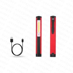 5가지 모드 펜 라이트 포켓 USB COB LED 토치(자석 포함 클립