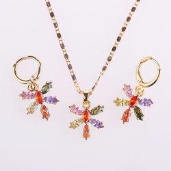 方法結婚式の金は水晶CZの真珠と合金のセットされた銀製のリングのネックレスのイヤリングの宝石類をめっきした