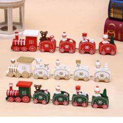 Los niños regalo de Navidad decoración de la mesa de madera Thomas vagón de tren bloques juguetes educativos