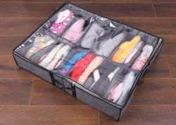 Bajo la cama Tejido sin tejer Organizador de zapatos se adapta a las cajas de 12 pares