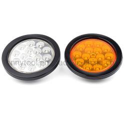 4인치 원형 12V LED 트럭 RV 트레일러 브레이크/정지/회전/후미등 고무 덮개 배선 플러그 키트 빨간색/황색/투명 표시등