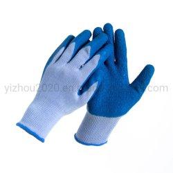 10 maat Vijf Bundels van de Industriële Handschoenen van het Werk van de Veiligheid van de Deklaag van de Palm van de Kreuk van het Latex van de Voering van het Garen Polyester+Cotton