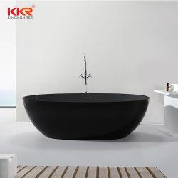 Moderno y Lujoso baño de piedra de resina negra mate de una superficie sólida bañera de patas
