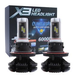 2 بيكس/ضبط المصابيح الأمامية للسيارة فائقة السطوع LED X3 H7 H11 H4 مصابيح أمامية تلقائية 9004 H13 بقدرة 650 واط بقدرة 6000lm 9-32V بقدرة 6000 كيلو واط للسيارة المصابيح الأمامية