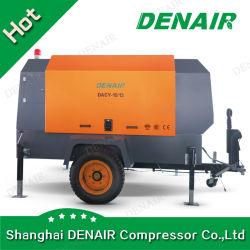 7-35 bar industrielle à usage intensif de l'huile haute pression injectée entraîné directement le moteur diesel Type à vis rotatif mobile Portable Air Compressor