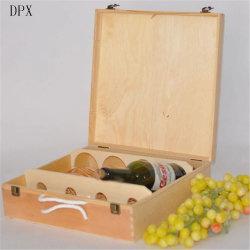 Verpackenflaschen-hölzerner Rotwein-Kasten des kasten-Ablagekasten-Ebenen-Kiefernholz-4