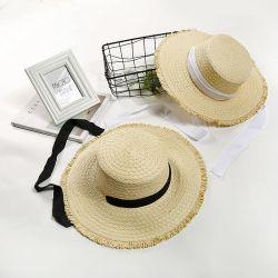 عالية الجودة في الصيف النساء الشمس أزياء السيدة شقة رافيا الأعلى قبعة القش المجمعد