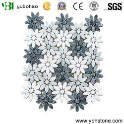 Mosaic من الرخام الطبيعي الأخضر زهرة الشمس الأبيض غير منتظم
