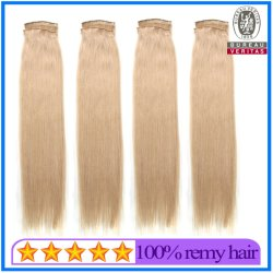 En stock 18 pouces couleur blonde de gros 100 Virgin Remy Hair main liée sèche