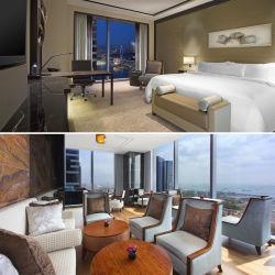 Última 5 estrelas com madeira de madeira maciça folheadas instrumentos Hotel quarto moderno mobiliário (EMT-SKB03)