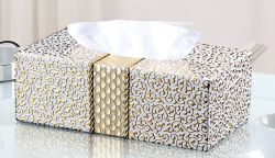 Caixa de tecido retangular com Lu Couro para Hotel Use (PJ-002)