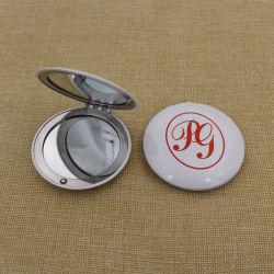 Самые дешевые металлические алюминиевые раунда макияж/компактный/Pocket/косметические зеркала заднего вида с логотип