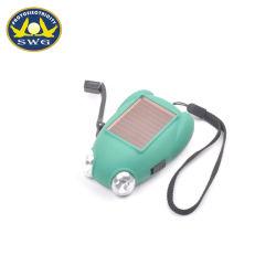 2 en 1 en forme de Grenouille 2 LED solaire Crank Dynamo Lampe de poche à main