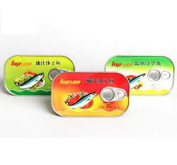 Vente chaude 125g dans l'huile de sardine en conserve dans la plaque peut