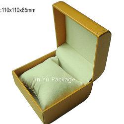Neues Entwurfs-Gelbleatherette-Geschenk-Plastikuhr-Geschenk-Verpackungs-Kasten