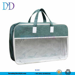 Impressão personalizada com manta de arame de aço de plástico de PVC Bag para embalagem de edredão com pegas