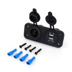 Cargador de coche Moto Enchufe Adaptador USB Dual+12V/24V Encendedor para teléfono móvil cargo
