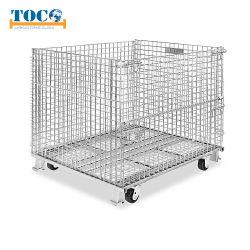 Almacén apilables plegables plegable de acero de almacenamiento de la jaula de malla de alambre de metal