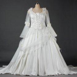 Toga van de Kleding van het Huwelijk van de Koker van het Satijn van vrouwen de Witte Lange Moslim Bruids W084
