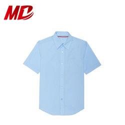 Barato uniformes escolares dos meninos mangas curtas camisa de algodão azul
