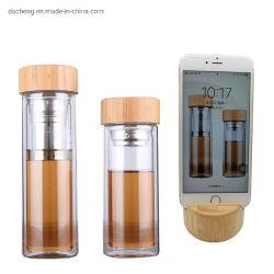 Multifunctional double paroi en verre clair de bouteilles d'eau potable de thé de couvercle de bambou bouteilles sport