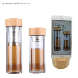 Doppel-wandiger freier Glaswasser-Flaschen-Bambuskappen-Multifunktionstee-trinkende Sport-Flaschen