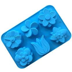 6 Blumen-Form-Tulpe-lustige handgemachte Silikon-Gummi-Seifen-Form-Backen-Kuchen-Form