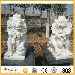 Venta caliente tallado en mármol de tamaño personalizado Puerta escultura estatua de León