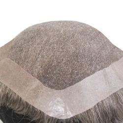 Men's Toupee fait sur mesure pleine main liée dentelle suisse les cheveux gris