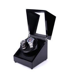La coutume et de commerce de gros 2+0 montre mécanique moteur boîte automatique, Boîte de dialogue de haut grade Watch Winder, Black Watch en bois vernis de cuisson double lève vitre