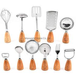 Les gadgets de cuisine avec poignée de bois de hêtre sourire 11pcs