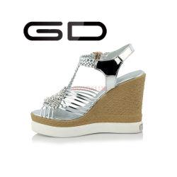 Plata Gdshoe de cuero Zapatos de encaje cuñas sandalias de cuero