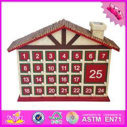 Calendario di legno del giocattolo del bambino all'ingrosso 2016, calendario di legno del giocattolo di natale, calendario di legno Handmade W02A182 del giocattolo