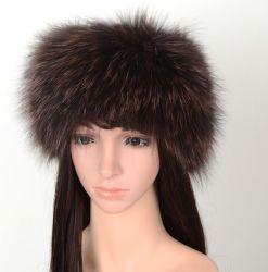 As mulheres sem tampa de Inverno Cachecol Gola Apertar quente frio real da correia de peles de raposa HAT