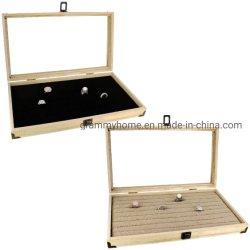 Joyas de madera Vitrina con una tapa de cristal templado Caja de boda