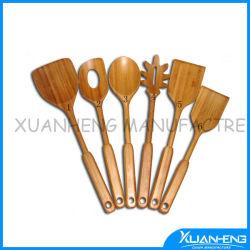 Cozinha de bambu Verde Colher Ranhurado
