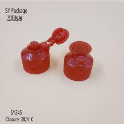 Detergente de plástico de color rojo Tapón de rosca de la tapa flip top