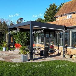 Giardino elettrico impermeabile in alluminio con apertura sul tetto a Louvered, gazebo patio all'aperto Pergola bioclimatica con schermo laterale Arche