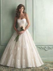 La parte superior del encaje apliques de Organza vestido de novia de encaje superior Champagne Birdal vestido de novia
