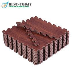 16PCS 고품질 도매 나무 디자인 소프트 퍼즐 매트 연동 바닥 매트 목재 그레인 퍼즐 매트 홈
