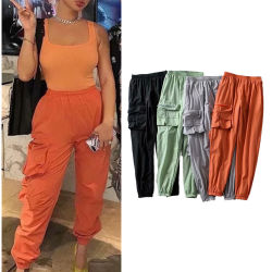 Comercio al por mayor de Deportes de la moda Hip Hop Streetwear mujer flojos pantalones Casual Pantalones Cargo