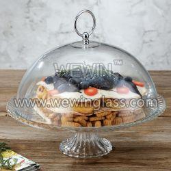 Piatto di vetro della torta con il coperchio di vetro della torta della cupola