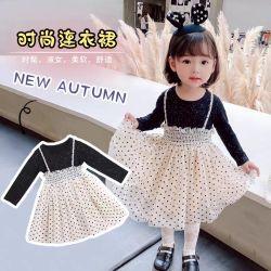 Nuevo el otoño de 2020 Niña falda de gasa, Fibra de poliéster, algodón, el último diseño de alta calidad Vestido de Bebe. Los niños la ropa. Los niños el desgaste. La ropa de bebé niña