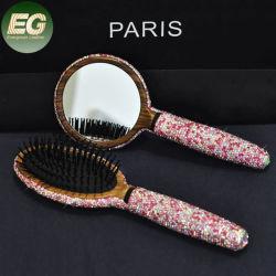 Ea011 роскошь природных ручной работы из бамбука щетиной для укладки в полной мере Diamond волос Набор щеток с зеркало для макияжа игристое деревянные Crystal дамы гребень
