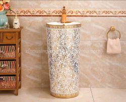 [مودن] غرفة حمّام جديدة فنية تصميم خزفيّ [وش بسن] ذهبيّة ينحت غرفة حمّام بالوعة قاعدة قصع لأنّ دار