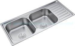 Kast Accessoires Countertop over montagebeugel 104× 50 cm geperst Uitgerekte dubbele kom met Drainboard roestvrijstalen keukentafel voor DB10450