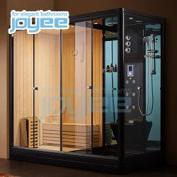 Voltar Acrílico Joyee Jato de Spray de massagem Sauna a vapor de gavetas de duche com porta de vidro temperado