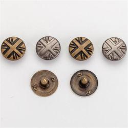 Decorativos personalizados estampadas Vintage Jeans Metal Rebites de Botão